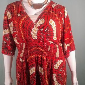 Nine West Red Printed Top Size 3X